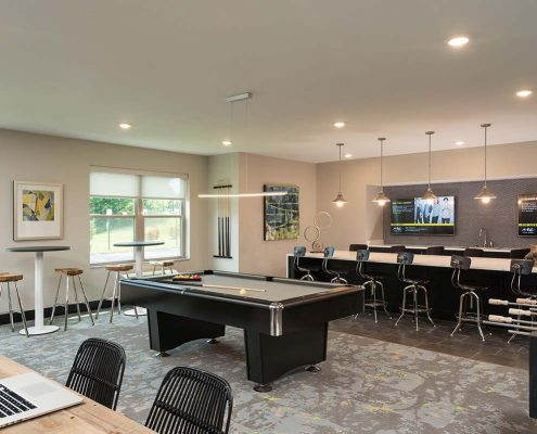 Kathy Andrews Interiors Student Housing Interior Design College Suites at Hudson Valley Game Room