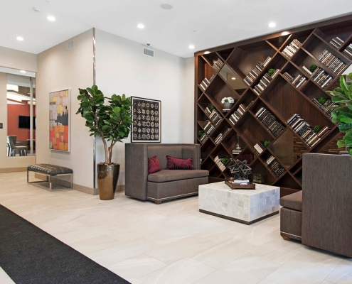Kathy Andrews Interiors Multifamily Interior Design Leasing and Amenity Centers Woodmont Metro at Metuchen Station Lobby