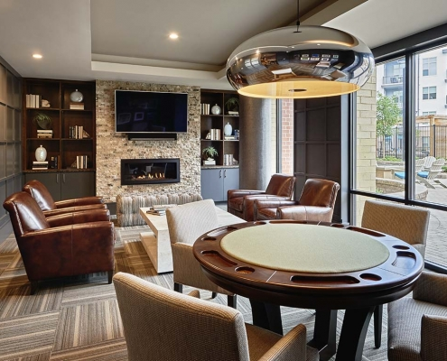 Kathy Andrews Interiors High Rise & Mid Rise Interior Design Multifamily Leasing and Amenity Center Inspire Game Room