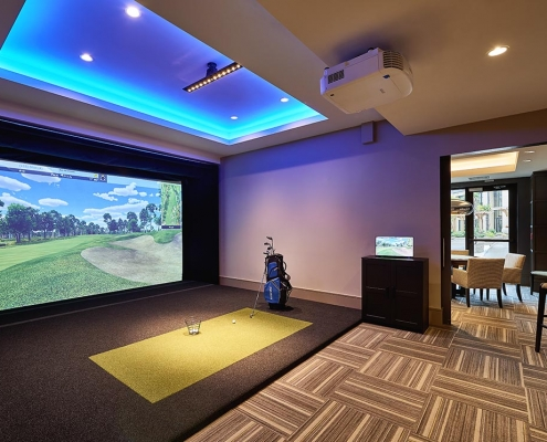 Kathy Andrews Interiors High Rise & Mid Rise Interior Design Multifamily Leasing and Amenity Center Inspire Golf Simulator Room