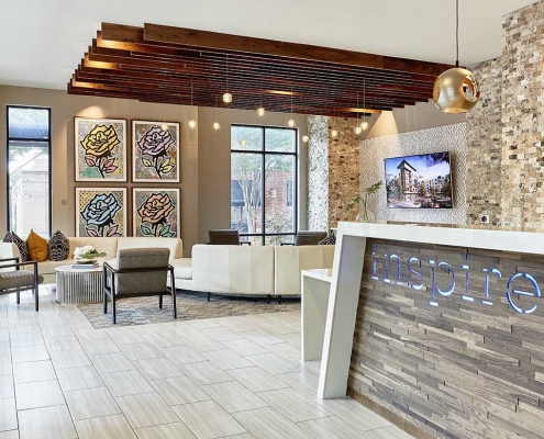 Kathy Andrews Interiors High Rise & Mid Rise Interior Design Multifamily Leasing and Amenity Center Inspire Lobby 2 Cropped