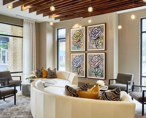Kathy Andrews Interiors High Rise & Mid Rise Interior Design Multifamily Leasing and Amenity Center Inspire Lobby
