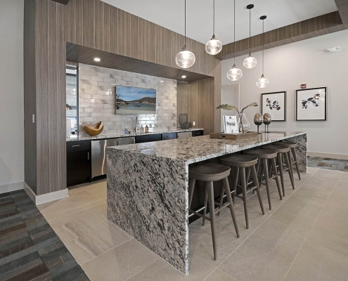 Kathy Andrews Interiors Multifamily Interior Design Leasing and Amenity Centers Woodmont Townsquare Club Room Kitchen