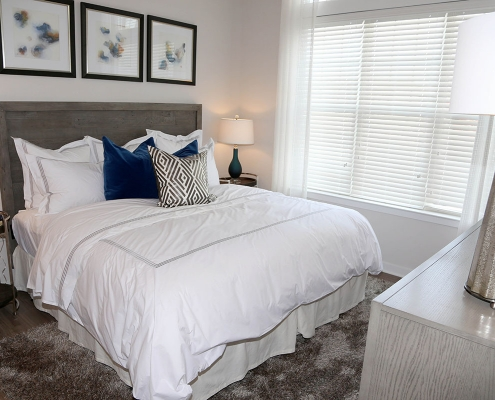 Kathy Andrews Interiors Multifamily Interior Design Model Units Metro at Metuchen Station Bedroom