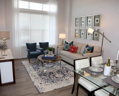 Kathy Andrews Interiors Multifamily Interior Design Model Units Metro at Metuchen Station Living Room 2