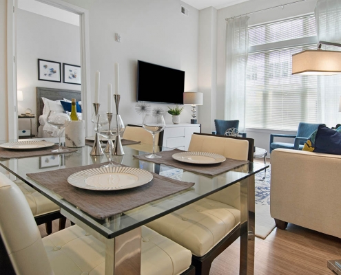 Kathy Andrews Interiors Multifamily Interior Design Model Units Metro at Metuchen Station Living Room