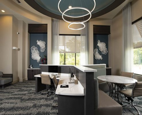 Kathy Andrews Interiors Parkside at Memorial Multifamily Leasing and Amenity Center Business Center