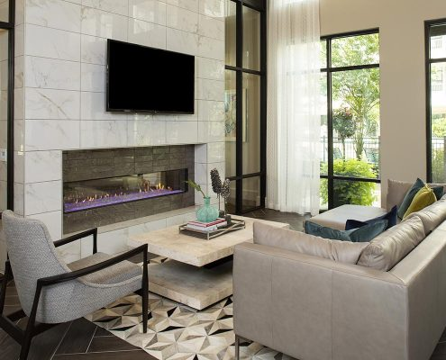 Kathy Andrews Interiors Parkside at Memorial Multifamily Leasing and Amenity Center Clubroom