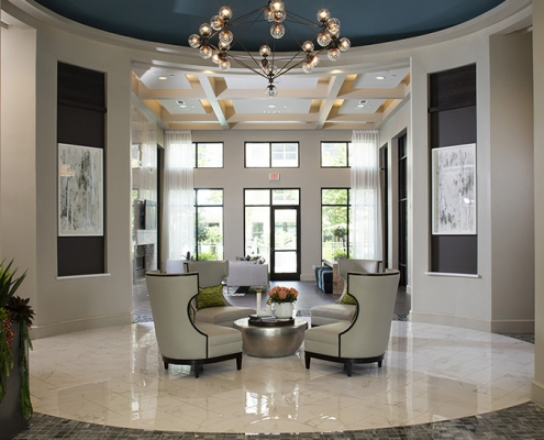 Kathy Andrews Interiors Parkside at Memorial Multifamily Leasing and Amenity Center Lobby Cropped