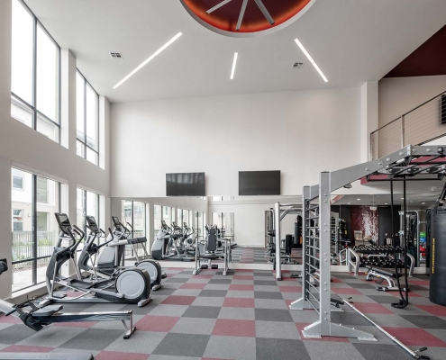Kathy Andrews Interiors Multifamily Interior Design Leasing and Amenity Center Broadstone Traditions Fitness Center