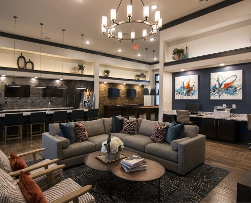Kathy Andrews Interiors Multifamily Interior Design Leasing and Amenity Center The Park on Wurzbach Clubroom Lounge 2