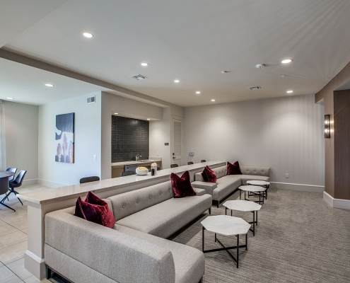 Kathy Andrews Interiors Multifamily High Rise and Mid Rise Interior Design Leasing and Amenity Center Alexan Exchange Media Room