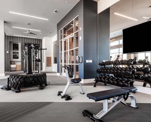 Kathy Andrews Interiors Multifamily Interior Design Leasing and Amenity Center Encore at Boulevard One Fitness