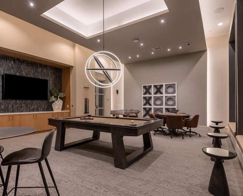 Kathy Andrews Interiors Multifamily Interior Design Leasing and Amenity Center Encore at Boulevard One Game Room