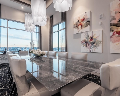 Kathy Andrews Interiors Multifamily Interior Design Leasing and Amenity Center Encore at Boulevard One Private Dining