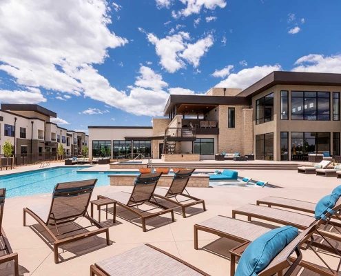 Kathy Andrews Interiors Multifamily Interior Design Leasing and Amenity Center Gateway Arvada Ridge Pool
