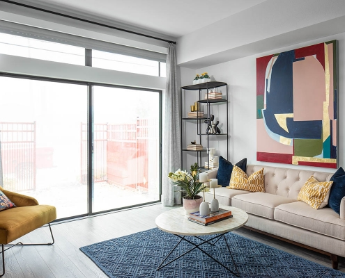 Kathy Andrews Interiors Multifamily Mid Rise and High Rise Interior Design 15th Street Flats Model Unit Living Room