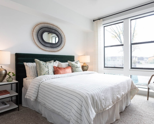 Kathy Andrews Interiors Multifamily Mid Rise and High Rise Interior Design 15th Street Flats Model Unit Bed Room 2