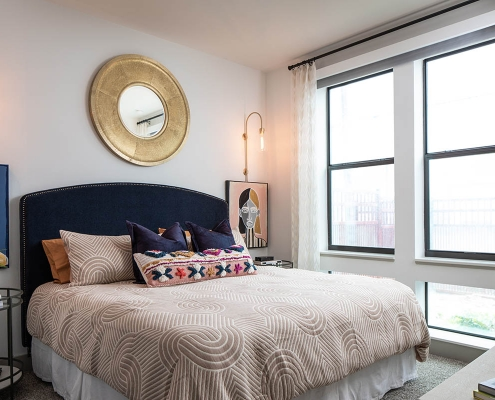 Kathy Andrews Interiors Multifamily Mid Rise and High Rise Interior Design 15th Street Flats Model Unit Bed Room