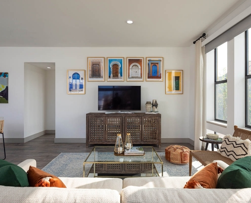 Kathy Andrews Interiors Multifamily Mid Rise and High Rise Interior Design 15th Street Flats Model Unit Living Room 3