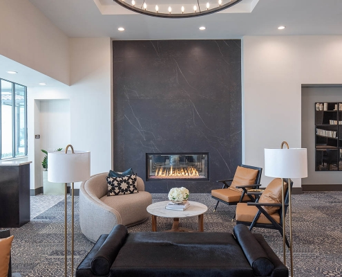 Kathy Andrews Interiors Multifamily Mid Rise and High Rise Interior Design 15th Street Flats Club Room
