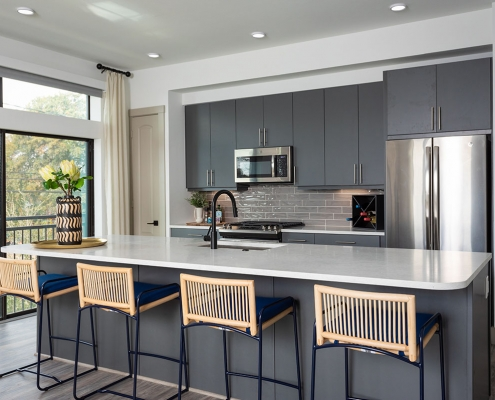 Kathy Andrews Interiors Multifamily Mid Rise and High Rise Interior Design 15th Street Flats Model Unit Kitchen