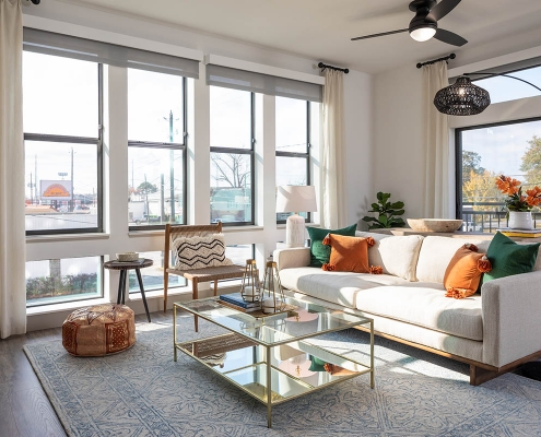 Kathy Andrews Interiors Multifamily Mid Rise and High Rise Interior Design 15th Street Flats Model Unit Living Room 2