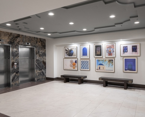 Kathy Andrews Interiors Multifamily Mid Rise and High Rise Interior Design 15th Street Flats Elevator Lobby