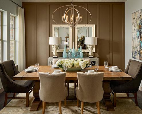 Single Family Interior Design Kathy Andrews Interiors David Weekley Homes Deer Run Pennfield Model 6435 Draper UT - Dining cropped