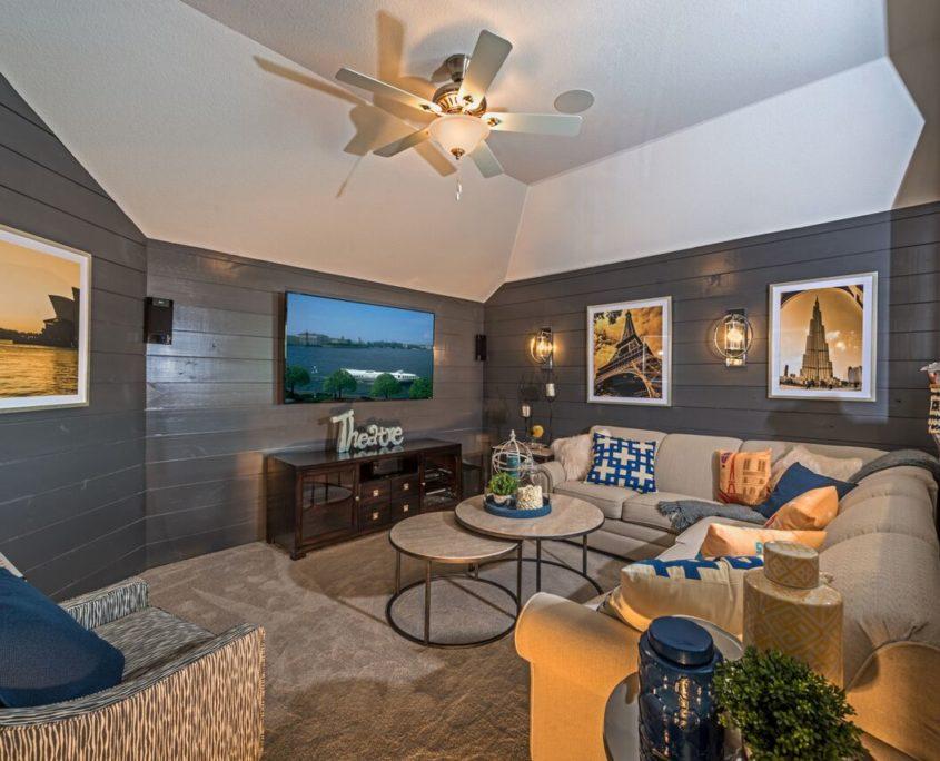 Kathy Andrews Interiors Landon Homes Lexington Country Impression Series 4655 Frisco Texas Theater Room