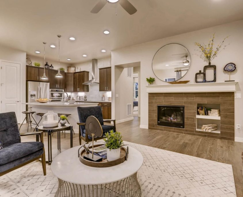 Kathy Andrews Interiors Richfield Homes Summer Hawk at Fox Meadow Longmont CO Family Room