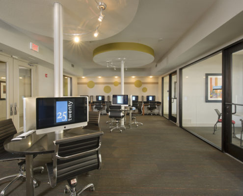 Kathy Andrews Interiors Asset Plus Student Housing Leasing and Amenity Center 25Twenty Lubbock TX Computer Room 1 lo res