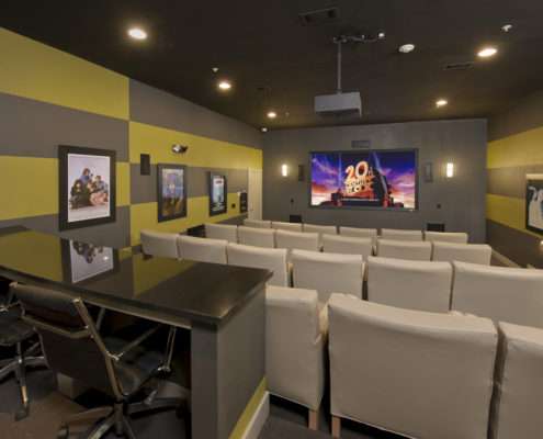 Kathy Andrews Interiors Asset Plus Student Housing Leasing and Amenity Center 25Twenty Lubbock TX Theater lo-res