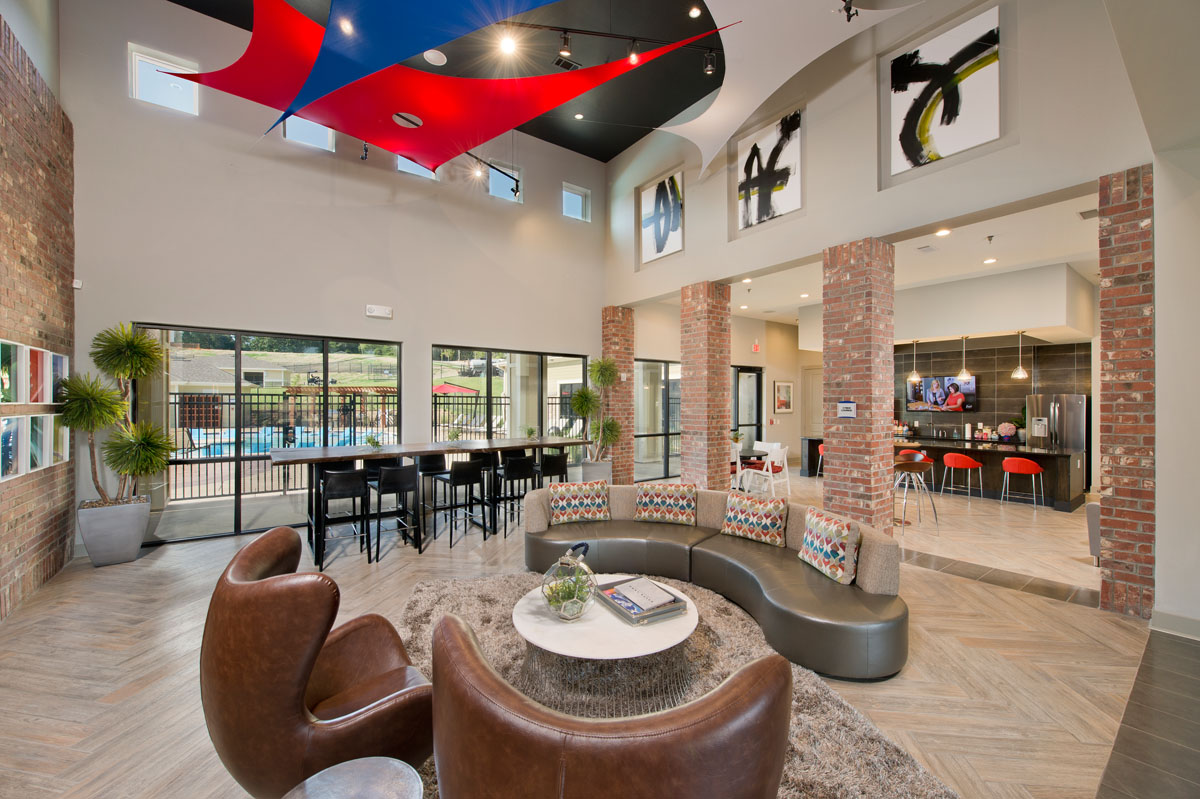 Kathy Andrews Interiors Asset Plus Student Housing The Domain at Oxford MS clubroom 1