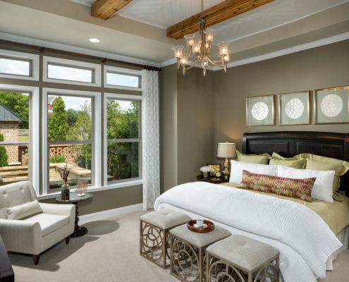 Kathy Andrews Interiors David Weekley Homes Active Adult Living Encore at Briar Chapel Harwin 5674 Master Bed