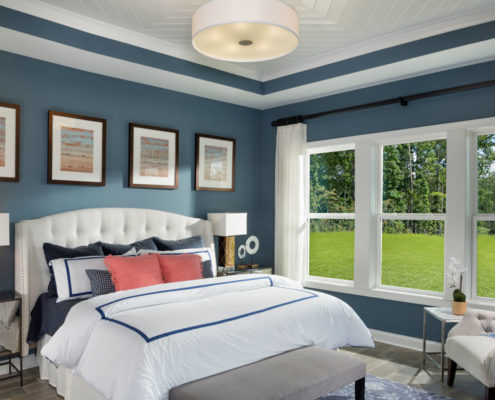 Kathy Andrews Interiors David Weekley Homes Active Adult Living Encore at Briar Chapel Wakeford Master Bedroom