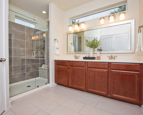 Kathy Andrews Interiors David Weekley Homes Villas at Roanoke Westworth 8677 San Antonio, TX Bath