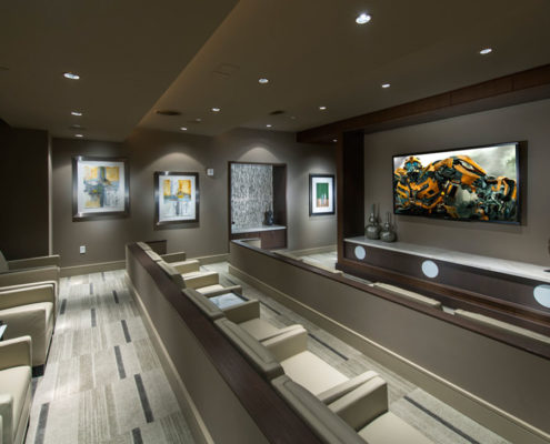 Multifamily Interior Design Kathy Andrews Interiors Hanover Post Oak Multifamily Leasing and Amenity Center theater