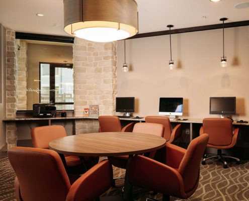 Kathy Andrews Interiors Ridgeline at Rogers Ranch Multifamily Leasing and Amenity Center Business Center