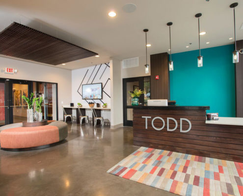 Kathy Andrews Interiors Student Housing - The Todd - Lobby-1