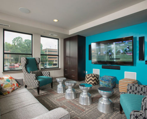 Kathy Andrews Interiors Student Housing - The Todd - gameroom TV area
