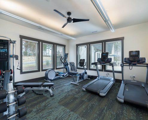 Active Adult Living Community Spaces -Gym Kathy Andrews Interiors - David Weekley Homes Encore at Briar Chapel