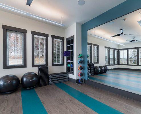 Active Adult Living Community Spaces -Yoga Room Kathy Andrews Interiors - David Weekley Homes Encore at Briar Chapel