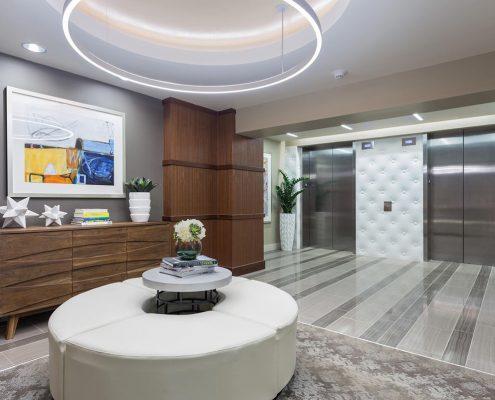 Kathy Andrew Interiors Multifamily Interior Design Leasing and Amenity Center Millennium Rainey Street Elevators