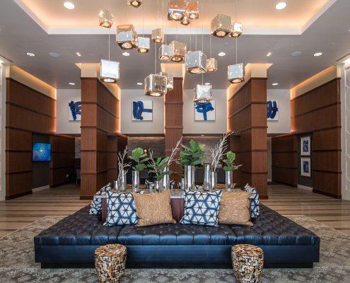 Kathy Andrew Interiors Multifamily Interior Design Leasing and Amenity Center Millennium Rainey Street Lobby Area