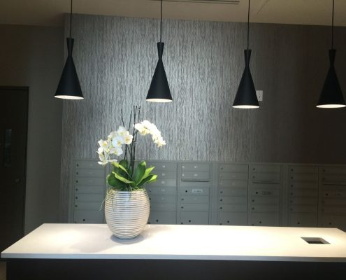 Kathy Andrews Interiors Multifamily Interior Design Leasing and Amenity Center Pearl Residences at CityCentre Mailroom