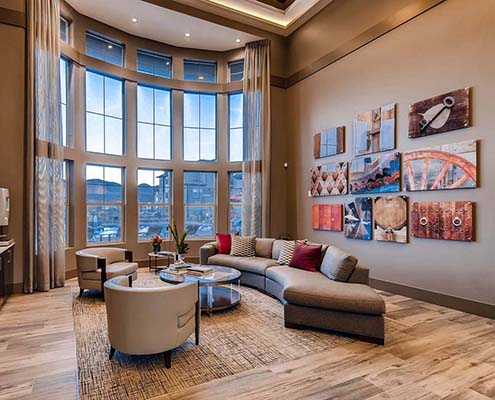 Kathy Andrews Interiors Multifamily Interior Design Leasing and Amenity Center Ironwood at Red Rocks Lobby cropped