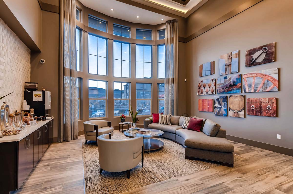 Kathy Andrews Interiors Multifamily Interior Design Leasing and Amenity Center Ironwood at Red Rocks Lobby