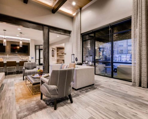 Kathy Andrews Interiors Multifamily Interior Design Leasing and Amenity Center Venue at the Promenade Clubhouse 2