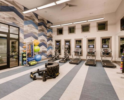Kathy Andrews Interiors Multifamily Interior Design Leasing and Amenity Center Venue at the Promenade Fitness Center